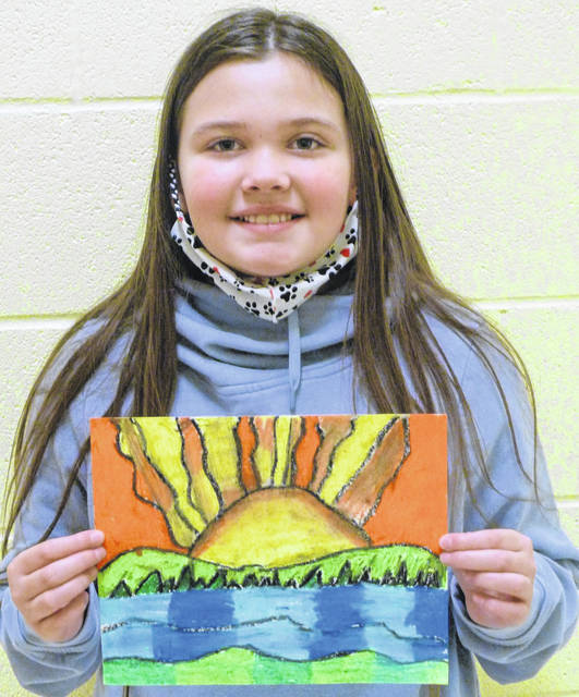 """McKenlee Bump, fourth grade Park Avenue Elementary School student whose art work was selected as an honored artist for the 41st annual """"The Young People's Art Exhibition and Youth Art Month Show."""""""