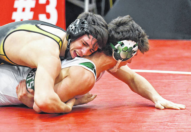 Northmor junior Niko Christo has control of his state meet opponent. Christo would place eighth at 152 pounds for the Golden Knights.