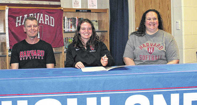 Highland senior Savannah Fitzpatrick (center) signs to play softball for Harvard University. With her are her parents, Brian (left) and Nikki.