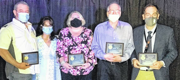 Pictured are the FFA Honorary Degree winners honoree at the recent Cardington FFA spring banquet, from left: Matt and Amie Crum, Jackie Meyers, Dan Fisher and Superintendent Brian Petrie.
