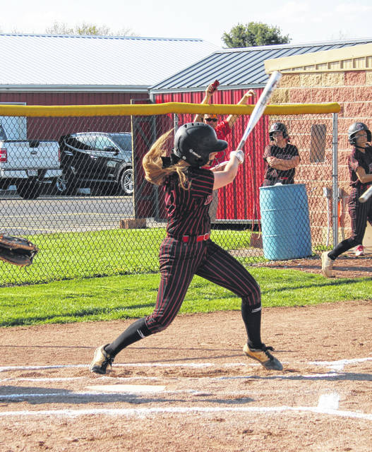 Cardington's Riley Burchett both drove in and scored a run for her team in their 2-1 home win over Highland.