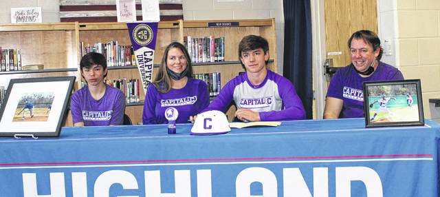 Highland senior Wyatt Groves (second from right) will continue his academic and baseball careers at Capital University. Pictured with him are (l-r) brother Zane and parents Mindy and Josh.