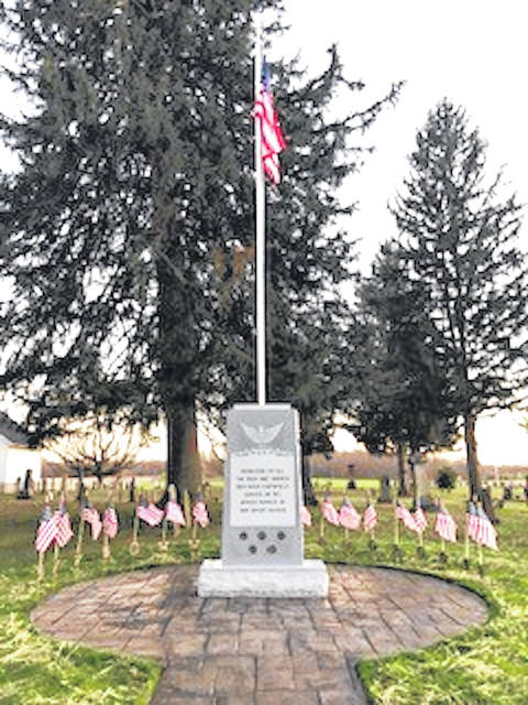 The new Veterans Memorial that will be dedicated on Memorial Day at Bryn Zion Cemetery.