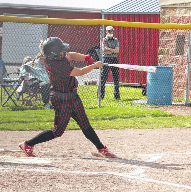 Cardington's Chelsey Miller smashed a home run to help her team beat Mount Gilead 16-0 and win a sectional title in softball on Friday.
