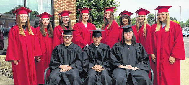 Cardington–Lincoln's top 10 (11) students from the class of 2021. Seated, from left: Eric Hamilton, Devin Gheen , and Dominick Glenn. Standing, Madison Brehm, Katie Lowrie, Gabby Shoemaker, Marlo Young, Sydney Spires, Isabelle Crum, Liz Long and Tess Ruehrmund.