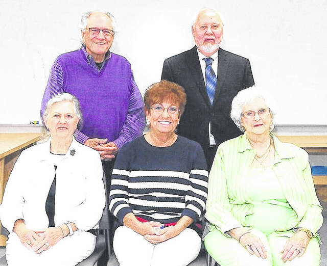 Cardington High School Class of 1961: celebrated its 60th reunion at the recent Cardington-Lincoln Alumni Party. Seated: Karen Blakely Canton, Shirley Coomer Grosh and Donna Fowler Toy. Standing: Tom Baer and Jim Pine, El Dorado, California. Absent Douglas Click and Betty Heimlich Zeigler.