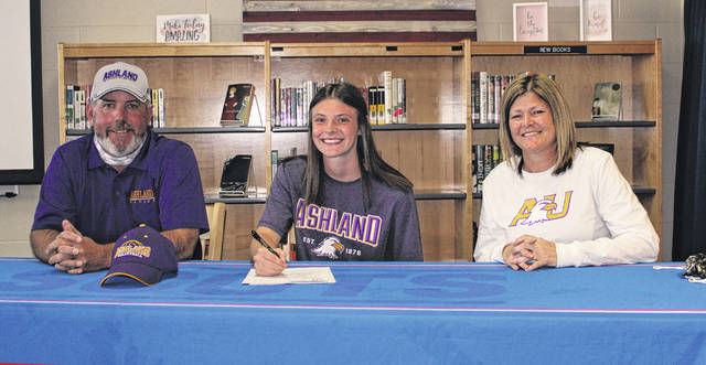 Highland graduate Makenna Belcher will play volleyball at Ashland University. Sitting with her are her parents, Todd and Shannon.