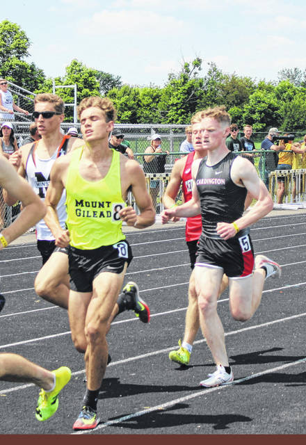 Michael Snopik (l) of Mount Gilead and Mason White of Cardington both ran in the DIvision III state meet's 1600, with Snopik placing ninth and White taking 13th place.