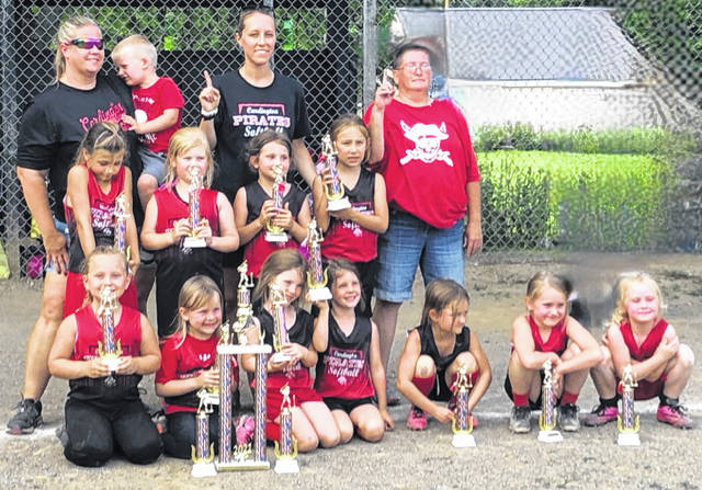 Cardington Red 6U T-ball played a great season with a regular season record of 9-2-1. They went on to win the Morrow County single-elimination T-ball tournament with a 4-0 record to bring home the championship trophy. Pictured are, back row (l-r): head coach Lauren Nash (with son, Ryder), coach Nicole Rogers and coach Kathie Townsend. Middle row: Sophia Foust, Kylie Nash, Eva Prince and Addilyn Rogers. Front row: Ali Kirkpatrick, Nadia Beavers, Allison Hughes, Taegan Hughes, Laila Dudgeon, Taylor Eastep and Brooklyn Eastep.