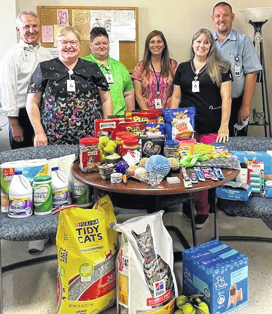 Morrow County Hospital associates continue to support the community. They recently held a pet supply drive, with donations benefiting the Morrow County Human Society and the Morrow County Dog Shelter. Pictured are a few of the MCH team with the items.