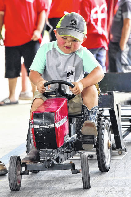 Youngsters enjoyed racing mini tractors at Farm Days at the Morrow County Fairgrounds last weekend.
