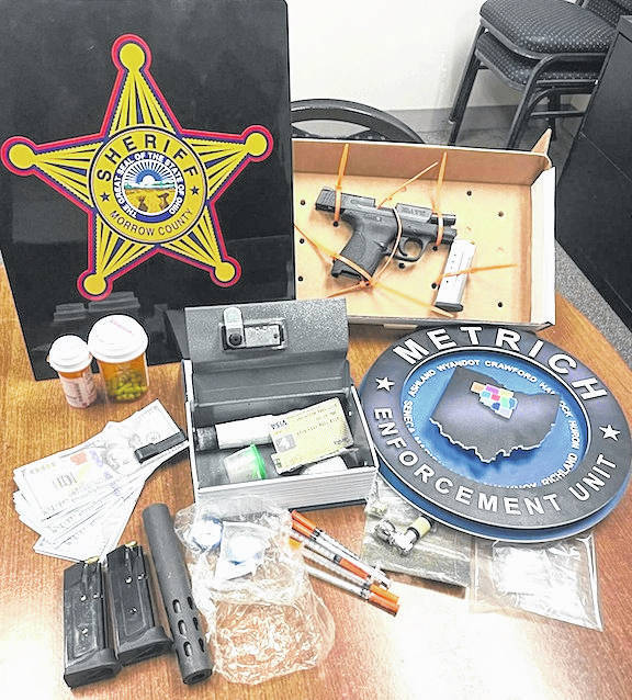 On Tuesday, Aug. 24, Morrow County deputies recovered two stolen vehicles at a residence in Harmony Township. Inside one of the vehicles, deputies discovered a firearm, suspected methamphetamine, suspected fentanyl and suspected prescription medication. Also seized was approximately $2,400 in fake U.S. currency. Morrow County Deputies were assisted by members of the METRICH drug task force.