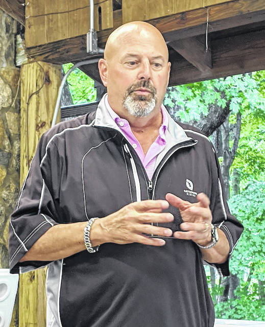 Dan Jones of Consolidated Cooperative spoke about the progress of extending the broadband network in Morrow County at the Aug. 17 Chamber of Commerce meeting at Mount Gilead State Park.