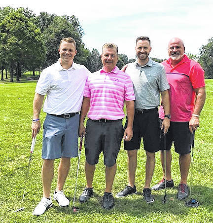 The 7th annual Kiwanis Club of Morrow County golf outing was held Aug. 13 at Bent Tree Golf Club in Sunbury. The club raised $3,151.90, with all money going to scholarships and other community projects it sponsors. Shown are the members of the winning foursome in the scramble format are the Park's Pride team of Chris Kamenski, Brandon Mills, Matt Lyburgh and John Agin.
