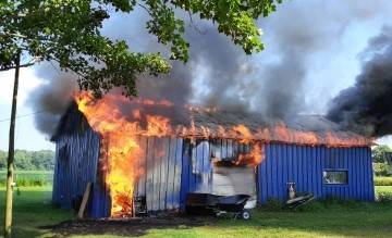 A pole barn caught fire Thursday on Road 67 in Canaan Township