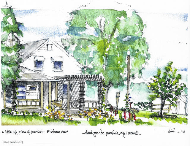 Watercolor by Kevin Collander of their home in Penlan believed to be built in 1847.