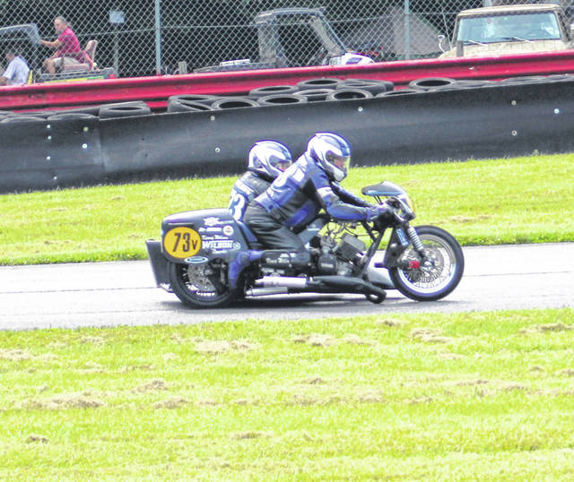 Among the classes of motorcycle competing at Mid-Ohio's Vintage Motorcycle Days were the sidecars.