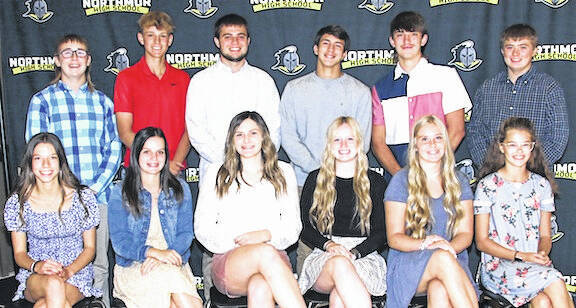 Northmor High School's homecoming court includes, front, from left: Olivia Finfgeld, Mia Marshall. Reagan Swihart, Emma Marshall, Paige Caudill, and Ella Creswell. Back, Bohdi Workman, Grant Bentley, Andrew Armrose, Niko Christo, Gavin Whited, Nick Armrose. Game is Sept. 24 and dance is Sept. 25.