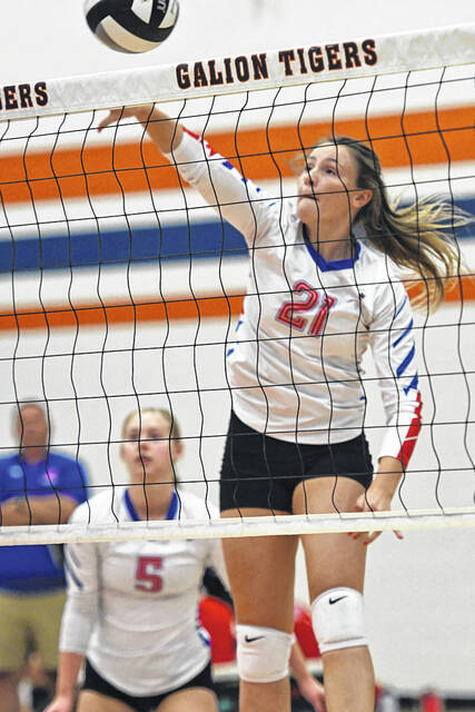 Highland's Emma West goes for a kill during the Lady Scots showdown against Galion on Thursday, Sept. 9, 2021, at Galion High School. Highland prevailed 3-1 to remain undefeated atop the Mid Ohio Athletic Conference standings. The Lady Scots are tied for the league lead with River Valley.