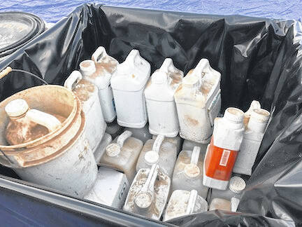 Some of the jugs from Agriculture Farm Pesticide Disposal day Aug. 12.