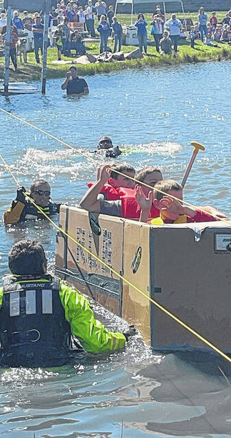 More than 200 students from Highland Local and Ontario Local schools recently participated in a cardboard boat challenge to promote learning in math and science. The students took cardboard and constructed a boat in an attempt to cross the water without sinking.