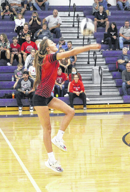 Cardington's Izzy Wickline executes a pass in her team's 3-0 win over host Mount Gilead on Thursday.