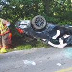 Rollover crash sends one to hospital
