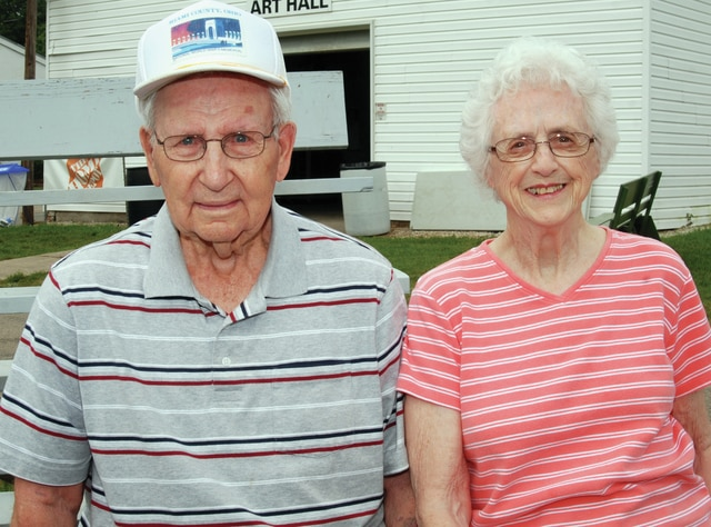 Mike Ullery | Daily Call Frank and Betty Bair of Casstown have been married for 70 years and were among the longest-married couples to be on hand for the Golden Anniversary photo on Wednesday.