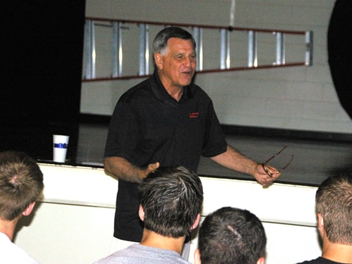 Mike Kelly, who led the University of Dayton football team to a national championship in 1989, spoke to the Bradford football team on Tuesday morning.