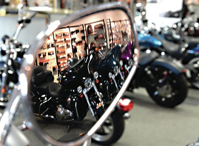 Mike Ullery | Daily Call Rows of Harley-Davidson motorcycles await visitors to Piqua Harley-Davidson during this weekend's BikeFest 2015.