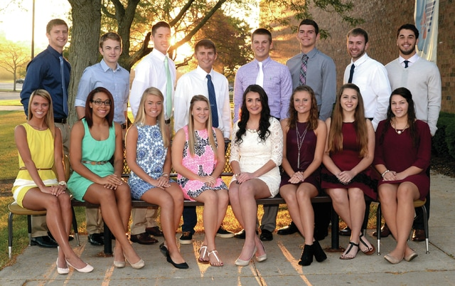 Mike Ullery | Daily Call Piqua homecoming court for 2015 includes: Front, l-r, Amy Burt, Taesha Carter, Liz Duer, Whitney Epley, Devinne Latham, Sierra Miller, Erin Patrizio and Halley Strevell. Back, l-r, Colton Bachman, Kenny Hawkins, TJ Iddings, Kyle Ingle, Ike Karn, Noah Lyman, Jack Schmiesing, and Jarrett Toopes. Homecoming queen will be crowned during ceremonies at the October 2, game against Vandalia-Butler, at Alexander Stadium/Purk Field, and the king will be named the following night at the homecoming dance at Piqua High School.
