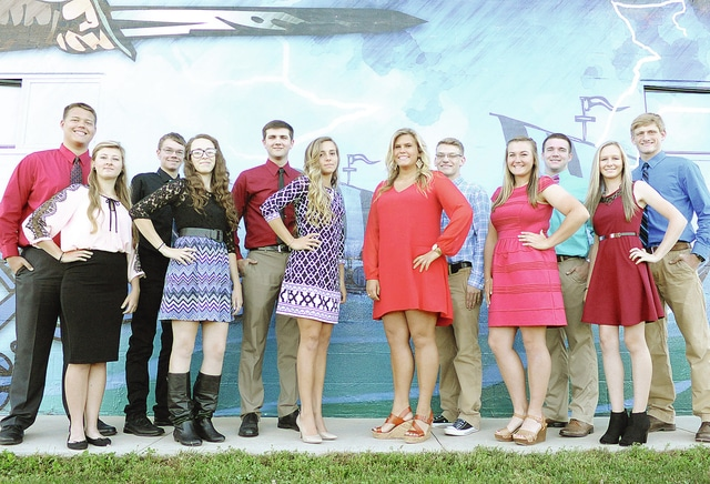 Anthony Weber | Civitas Media Miami East High School recently announced its 2015-2016 homecoming court. The court includes: Lauren Koontz, Emily Randall, Lindsey Black, Emily Beal, Megan Pettit and Kierra Fellers Back row: Cole Garrett, Adam Bick, Kley Karadek, Nathan Teeters, Kurt Brower and Michael Werling. A homecoming dance is scheduled for 7:30-10:30 p.m. Saturday inside the former high school gymnasium.