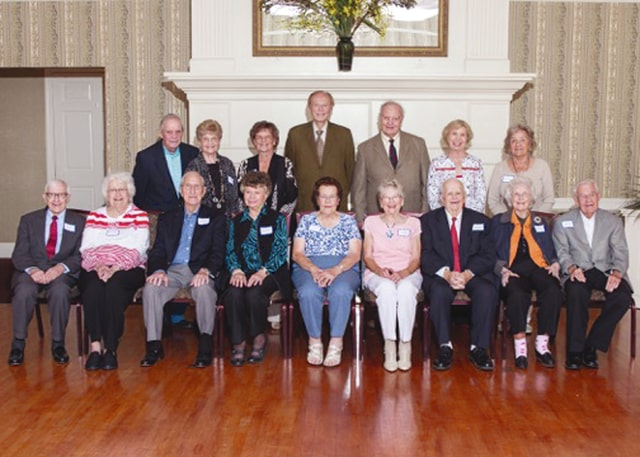 Provided photo Standing, from left: Ted Gray, Betty Westfall Hunt, Opal Rhoades Holfinger, Bill Carter, Vernon Post, Rhoma VanDe Mark Berlin, and Margaret Tamplin Tilton. Seated: Richard Sims, Maxine Lange Orr, Richard Bridgman, Nancy Cramer Beckman, Gladys Gantt Grivy, Margaret DeWeese Coffing Suber, Richard Clawson, Belva Draving Black, and Charles Black.