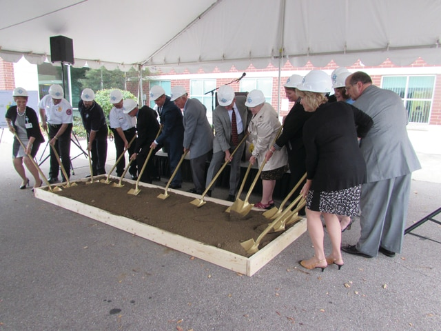 Allison C. Gallagher | Troy Daily News Upper Valley Medical Center executives, the architects who helped design the Emergency Department and representatives from local fire departments help break ground at UVMC. The Emergency Department renovations will take place up to 18 months.