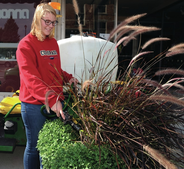 Mike Ullery | Daily Call Madyson Kuhn waters planters throughout downtown Piqua on Thursday afternoon. The 2014 PHS grad worked as a summer employee for the City of Piqua. She now attends Sinclair College and works for the city on days that she does not have classes.