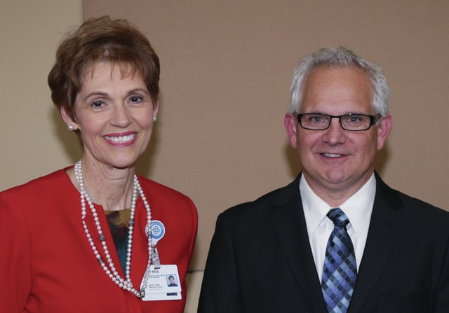 Provided photo Becky Rice, Upper Valley Medical Center president and CEO, with Merlin Collins, UVMC 2015 Employee of the Year.