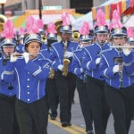 Miami East Viking Pride Marching Band sports pink plumes for cancer research