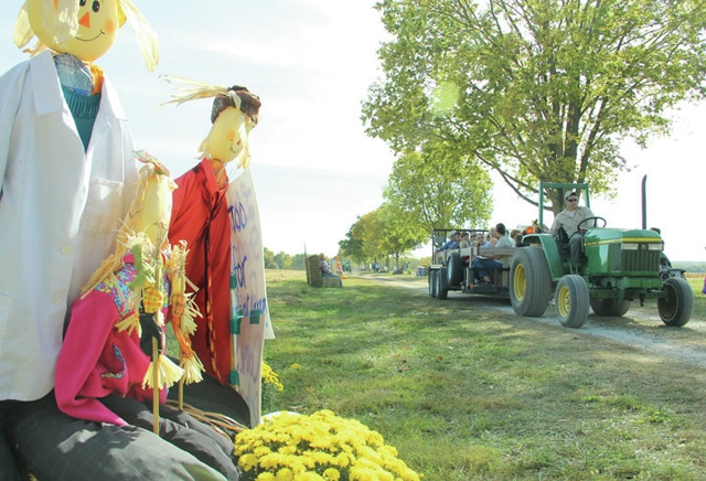 "Visitors at the Miami County Park District's Fall Farm Festival were taken by tractor down ""Scarecrow Lane"" on Saturday to see the scarecrows entered by local schools and businesses for the scarecrow contest."