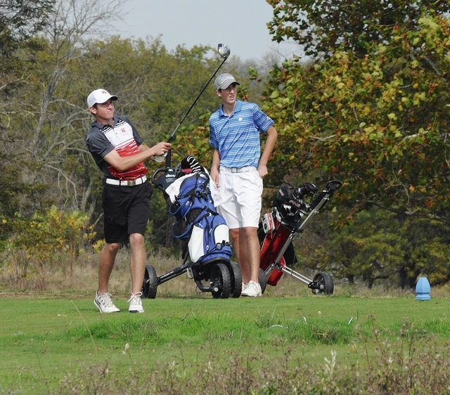 Rob Kiser/Call Photo Newton's Brock Jamison watches a tee shot at the district tournament last week.