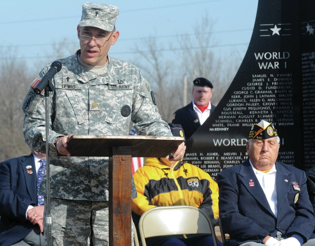 Mike Ullery | Daily Call Major Robert Lewis, chaplain, U.S. Army Reserve, delivers the keynote address at the Piqua Veterans Day ceremony at Veterans Memorial Park on Wednesday.