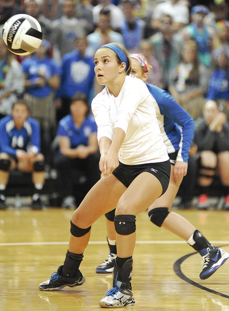 Anthony Weber/Troy Daily News Miami East's Lindsey Black digs up a Gilmour Academy kill attempt during Thursday's state semifinal match at the Nutter Center.