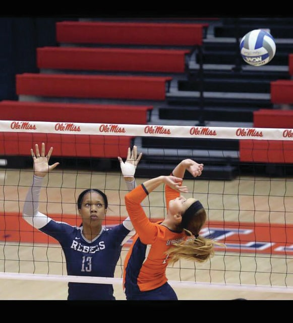 Photo Provided Ellie Cain sets the ball for UT Martin against Ole Miss.