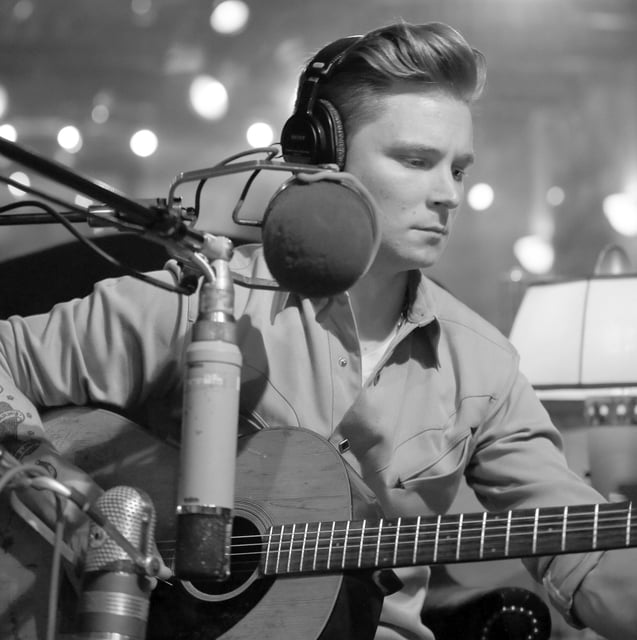 """Provided photo Frankie Ballard works on his yet-to-be-named new album at a Texas studio. The first track, """"It All Started With a Beer,"""" is avaialable on country music radio beginning today."""