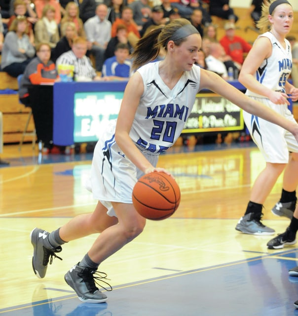 Mike Ullery | Daily Call Morgan Haney, 20, brings the ball down the floor for the Vikings.