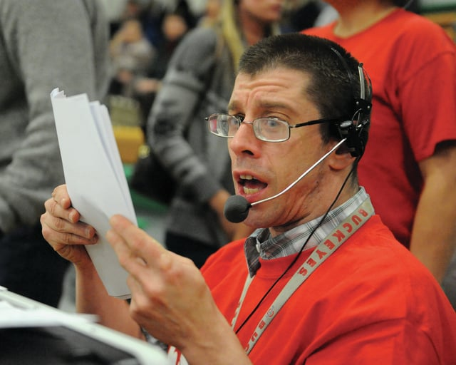 Photo courtesy Lee Woolery | Speedshot Photo Jason McCabe calls the action during a Miami County Magic basketball game at halftime of Troy Christian's boys basketball game Tuesday. The game was part of Riverside Developmental Disabilities' Special Olympics program.