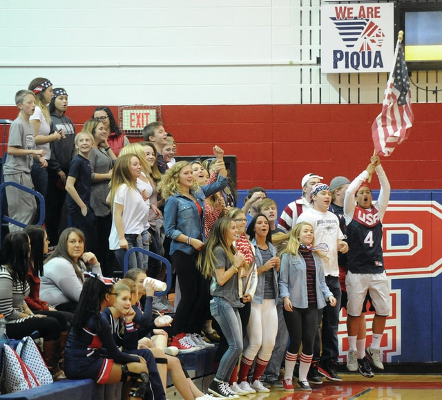 Mike Ullery | Daily Call A patriotic Piqua student section helped cheer the Indians on to a big win over St. Marys High School at Garbry Gym on Saturday night.