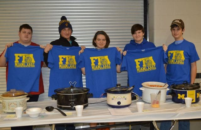 Provided photo Winners of the Miami East-MVCTC FFA Chapter Annual Chili Cook-Off at the January FFA Meeting included (L to R) Zach Kronenberger, Alex DiNardo, Bailey Buck, Ashley Hawkins, and Alex Zapadka.
