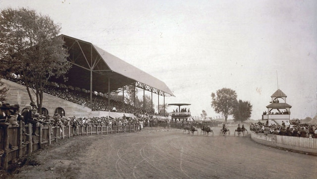 Photo courtesy of the Troy-Miami County Public Library's Local History Library The newly completed Miami County Fair Grandstand in 1917.