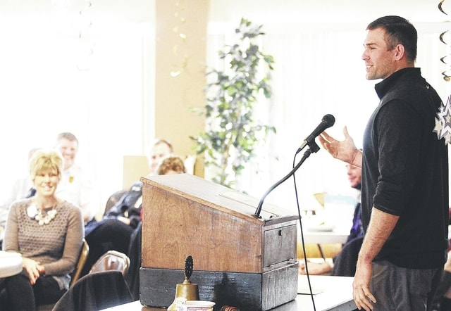 Versailles grad and Major League pitcher Craig Stammen addresses the combined Rotary-Kiwanis luncheon at the Sidney Moose Monday.