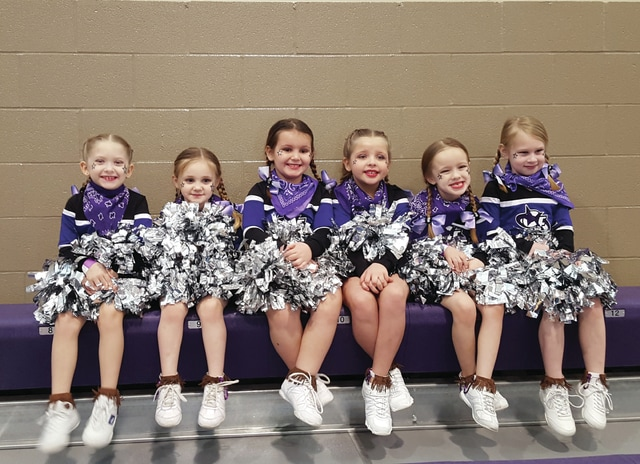 Provided photo Piqua Platinum cheerleaders from Champion Force Cheerleading placed third at State Competition on Jan. 9 at Bluffton University. Pictured, left to right, are Jocelyn Thoma, Leyah Fair, Cylah Boggess, Adalynne Shawler, Adelyn Felton and Piper Ward. Coach Monica Avey is not pictured.